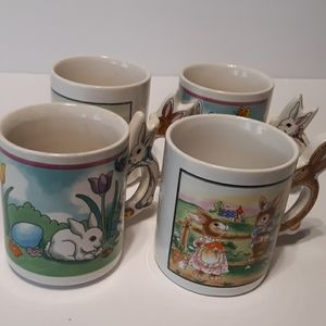Set of 4 vintage Peter rabbit bunny handle mug cup